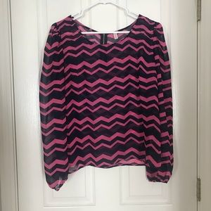 Long Sleeved Navy and Pink Chevron Blouse